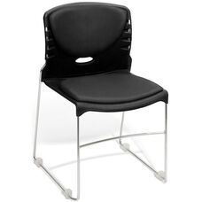 300 lb. Capacity Stack Chair with Anti-Microbial and Anti-Bacterial Vinyl Seat and Back - Black