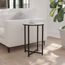 Hampstead Collection End Table - Modern White Finish Accent Table with Crisscross Matte Black Frame