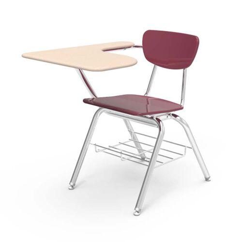Our 3000 Series Combo Sandstone Hard Plastic Tablet Arm Desk with Wine Seat and Chrome Frame - 20