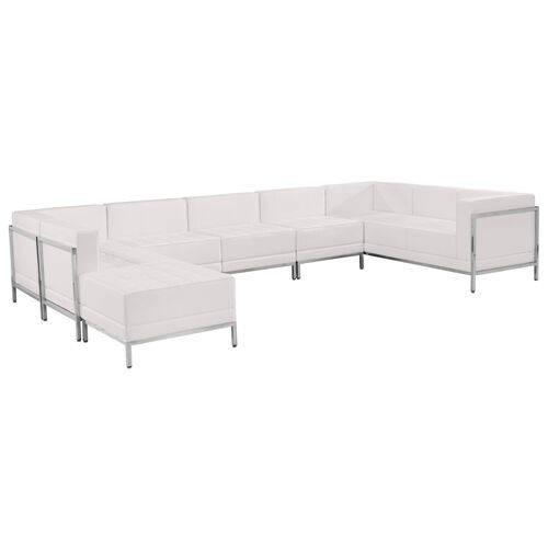 HERCULES Imagination Series Melrose White LeatherSoft U-Shape Sectional Configuration, 7 Pieces