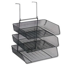 Fellowes® Mesh Partition Additions Three-Tray Organizer - 11 1/8 x 14 x 14 3/4 - Black