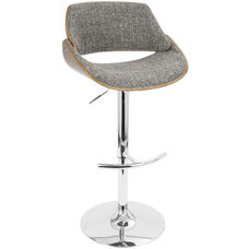 Fabrizzi Mid-Century Modern Height Adjustable Swivel Barstool with Walnut Accents - Grey