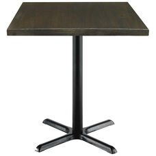 Urban Loft Collection 30'' Square Vintage Wood Top with Black Counter Height Table Base - Espresso