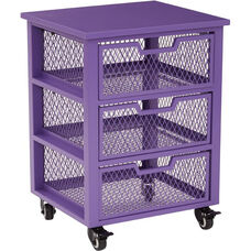 OSP Designs Garret 3 Drawer Rolling Cart with Wood Top - Purple
