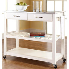 Stainless Steel Top Kitchen Island Cart - White Finish