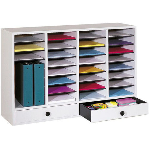 Our Adjustable Wooden Literature Organizer with Thirty-Two Compartments and Two Drawers - Gray is on sale now.