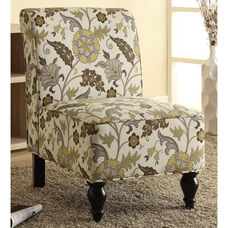 Traditional Armless Fabric Accent Chair with Solid Wood Legs - Gold Floral