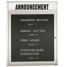 1 Door Outdoor Enclosed Directory Board with Header and Aluminum Frame - 36