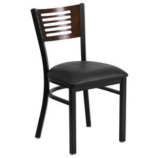 Black Decorative Slat Back Metal Restaurant Chair with Walnut Wood Back & Black Vinyl Seat