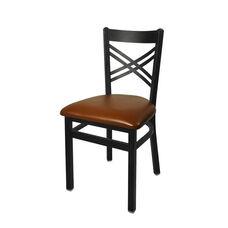 Akrin Metal Cross Back Chair - Light Brown Vinyl Seat