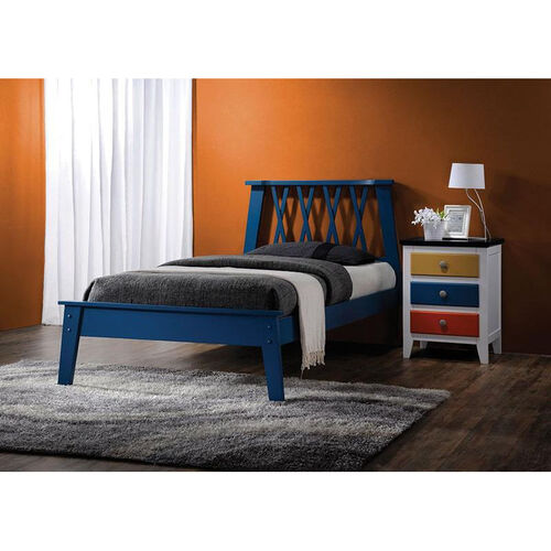 Moffett Wooden Bed with X Design Headboard - Full - Dark Blue