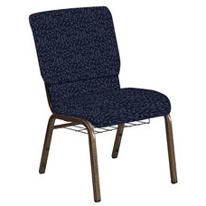 Embroidered 18.5''W Church Chair in Jasmine Tartan Blue Fabric with Book Rack - Gold Vein Frame
