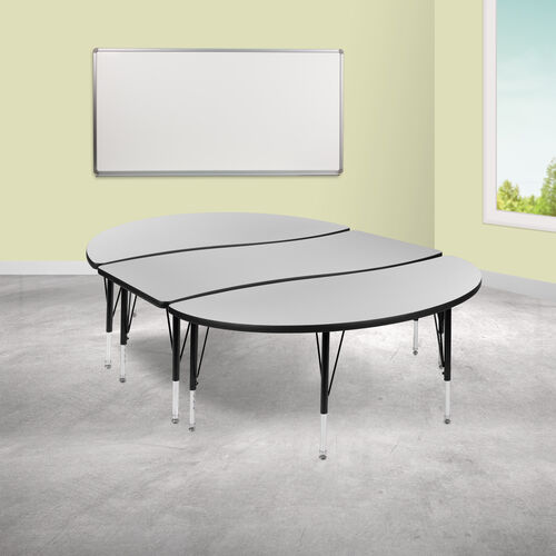 """3 Piece 86"""" Oval Wave Collaborative Grey Thermal Laminate Activity Table Set - Height Adjustable Short Legs"""