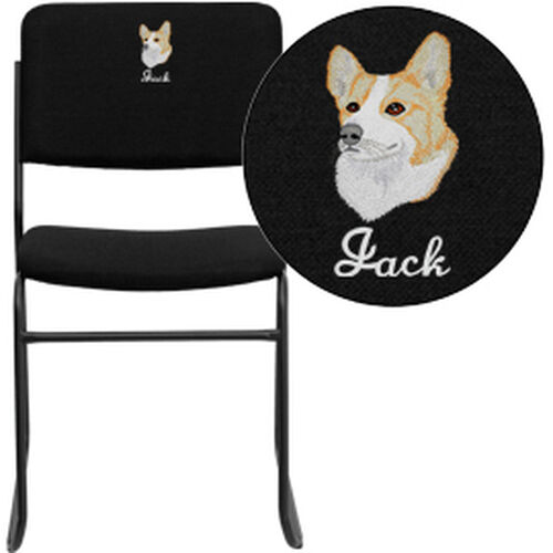 Our Embroidered HERCULES Series 1000 lb. Capacity High Density Black Fabric Stacking Chair with Sled Base is on sale now.