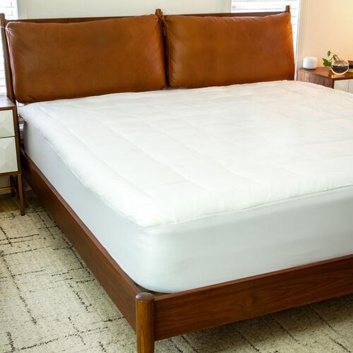 Mattress Pad - White Cotton Top - King Size - Deep Pockets - Hypoallergenic