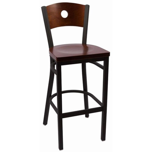 Our Circle Series Wood Back Armless Barstool with Steel Frame and Wood Seat - Walnut is on sale now.