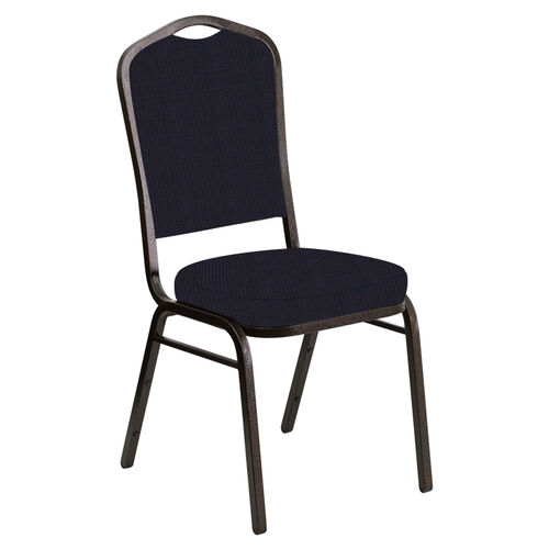 Embroidered Crown Back Banquet Chair in Mainframe Blazer Fabric - Gold Vein Frame