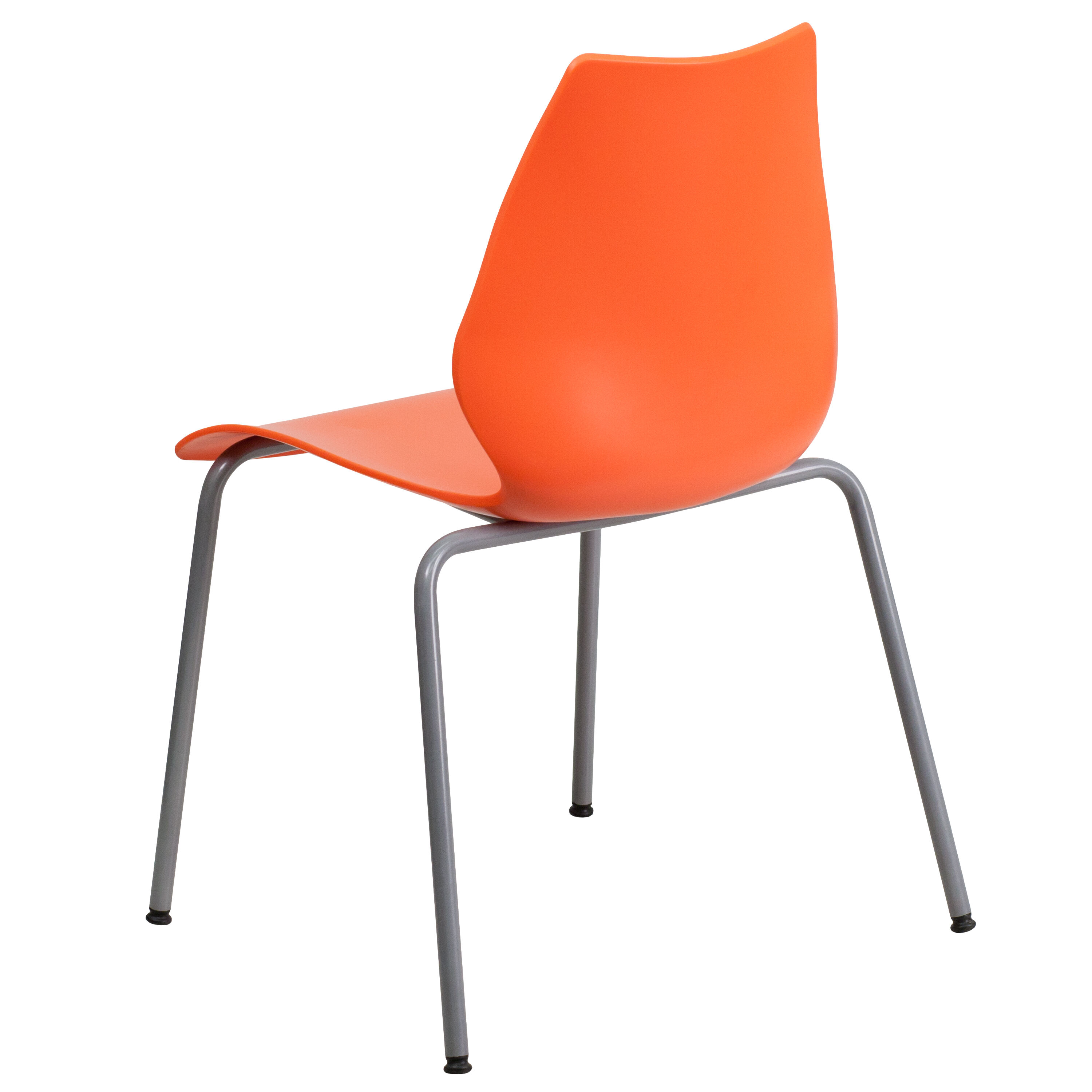 Capacity Orange Stack Chair With Lumbar Support And Silver Frame ...