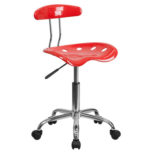 Our Vibrant Cherry Tomato and Chrome Swivel Task Office Chair with Tractor Seat is on sale now.