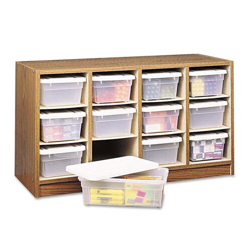 Safco® Modular Wood/Plastic 12 Bin Supplies Organizer - 34 x 13 x 19 - Medium Oak/Clear