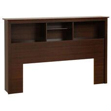 Full/Queen Size Bookcase Headboard with 3 Open Storage Compartments - Espresso