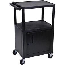 Endura 2 Shelf Mobile A/V Cart with Locking Cabinet - Black - 24