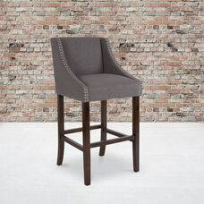 """Carmel Series 30"""" High Transitional Walnut Barstool with Accent Nail Trim in Dark Gray Fabric"""