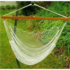 Nylon Net Hanging Hammock Rope Chair - White