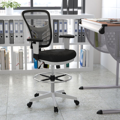 Mid-Back Mesh Ergonomic Drafting Chair with Adjustable Chrome Foot Ring, Adjustable Arms