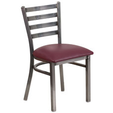 Clear Coated Ladder Back Metal Restaurant Chair with Burgundy Vinyl Seat