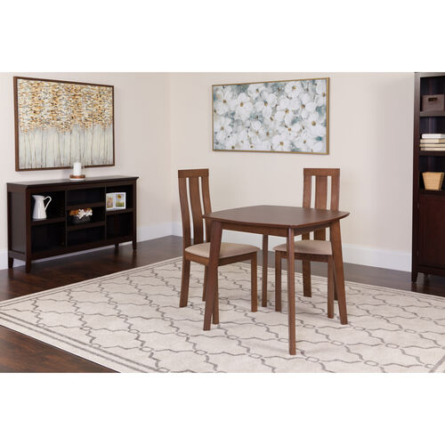 Our Westport 3 Piece Walnut Wood Dining Table Set with Vertical Wide Slat Back Wood Dining Chairs - Padded Seats is on sale now.