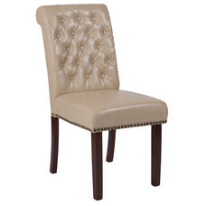 HERCULES Series Beige LeatherSoft Parsons Chair with Rolled Back, Accent Nail Trim and Walnut Finish
