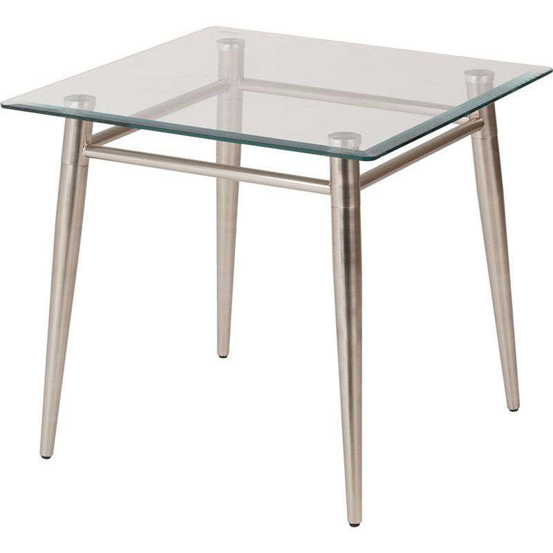 ... Our Ave Six Brooklyn Clear Tempered Glass Square Top End Table   Nickel  Is On Sale