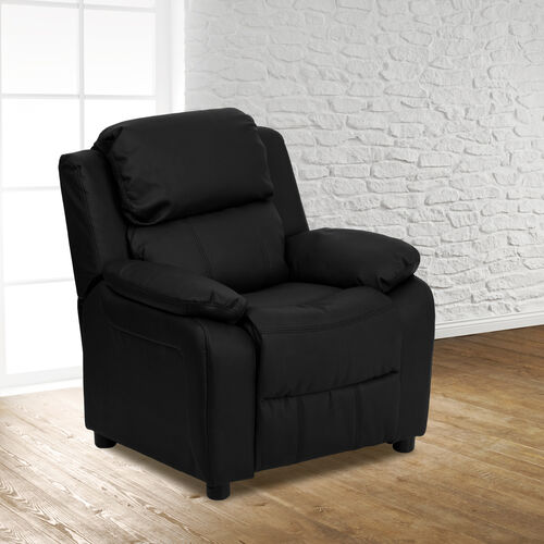 Our Deluxe Padded Contemporary Kids Recliner with Storage Arms is on sale now.