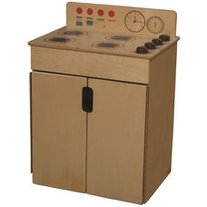 Tip-Me-Not Wooden Kitchen Stove with Brown Knobs - 20.5