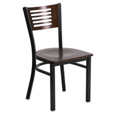 Black Decorative Slat Back Metal Restaurant Chair with Walnut Wood Back & Seat