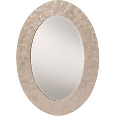 OSP Designs Rio Beveled Wall Mirror with Mother of Pearl Oval Frame - White