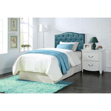Viola Button Tufted Faux Leather Headboard - Queen / Full - Blue