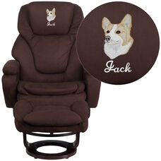 Embroidered Contemporary Multi-Position Recliner and Ottoman with Swivel Mahogany Wood Base in Brown Microfiber