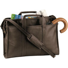 Soft Sided Briefcase - Milano Top Grain Leather - Black