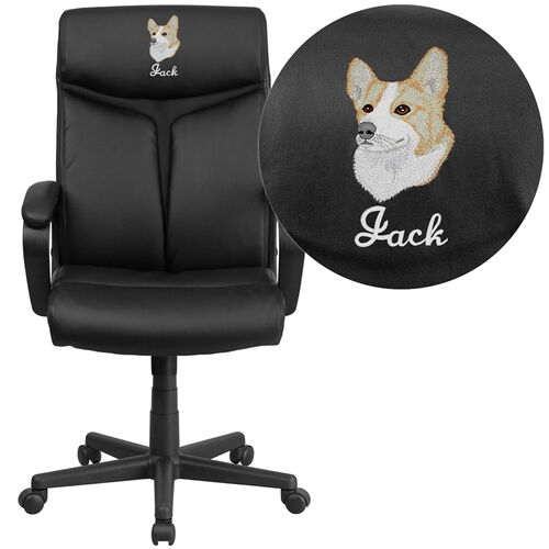 Embroidered High Back Black Leather Executive Swivel Office Chair (Min  Order Qty Required)
