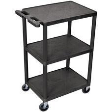 3 Shelf Structural Foam Plastic Utility Cart - Black - 24