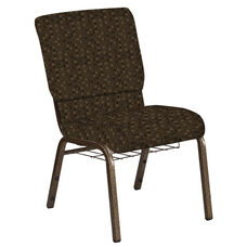 Embroidered 18.5''W Church Chair in Empire Chocolate Fabric with Book Rack - Gold Vein Frame