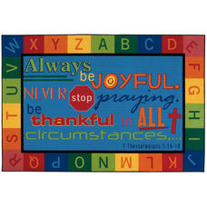 Kids Value Always be Joyful Rectangular Nylon Rug - 96