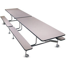 Foldable Rectangular Cafeteria Table with 4 Attached Bench Seats - 120''L x 56''W x 29''H
