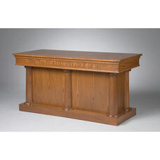 Stained Red Oak Closed Communion Table with Tapered Column Accents