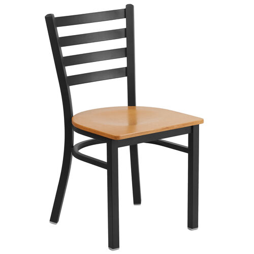 Our HERCULES Series Black Ladder Back Metal Restaurant Chair - Natural Wood Seat is on sale now.