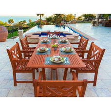 Malibu Outdoor 7 Piece Wood Patio Dining  Set with Rectangular Extension Table and 6 Herringbone Back Armchairs
