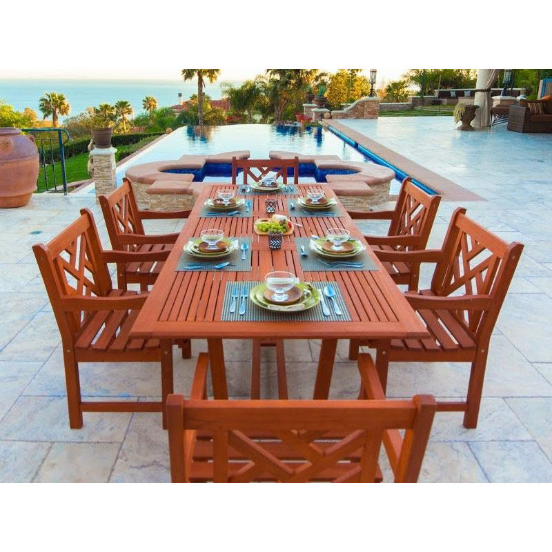 ... Our Malibu Outdoor 7 Piece Wood Patio Dining Set With Rectangular  Extension Table And 6 Herringbone ...