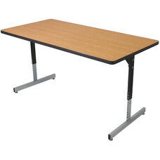 Rectangle Shaped Activity Table with Adjustable Pedestal Legs - 30''W x 72''D